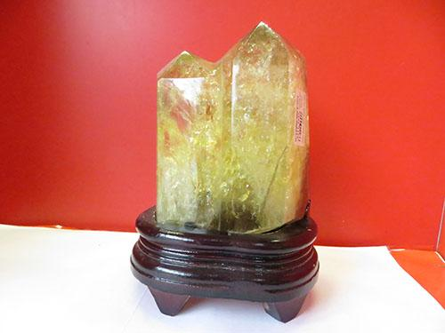 Nhị Trụ đá thạch anh vàng loại 1  cao 20 cm nặng 1.5 kg