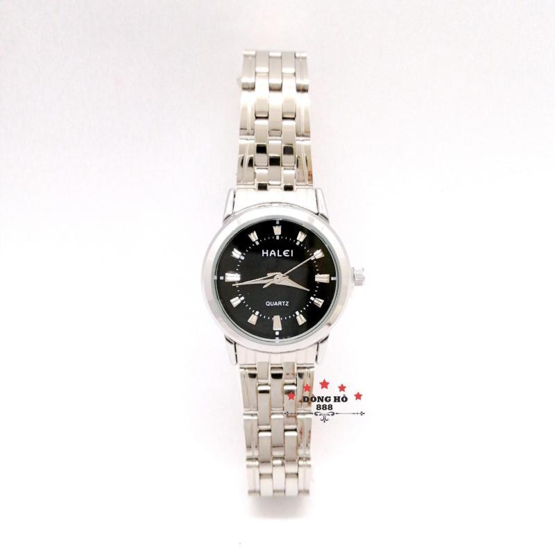 Đồng hồ nữ HALEI dây kim loại thời thượng ( HL502 dây trắng mặt đen ) - TẶNG 1 vòng tỳ hưu phong thuỷ