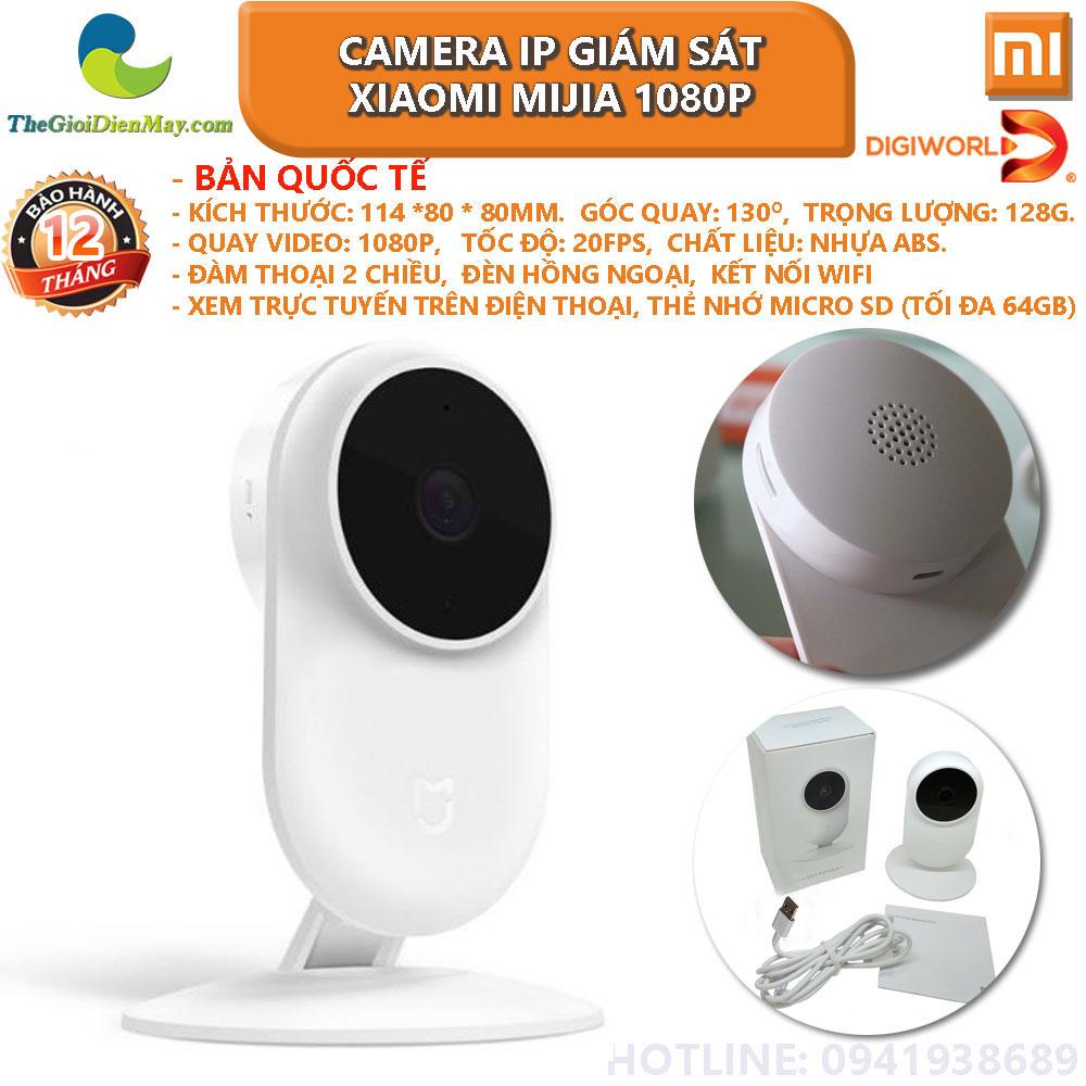 Camera giám sát xiaomi mijia IP fullHD 1080P góc 130 độ bảo hành 12 tháng có đèn hồng ngoại quay đêm cảnh báo chuyển động đàm thoại 2 chiều - thế giới điện máy