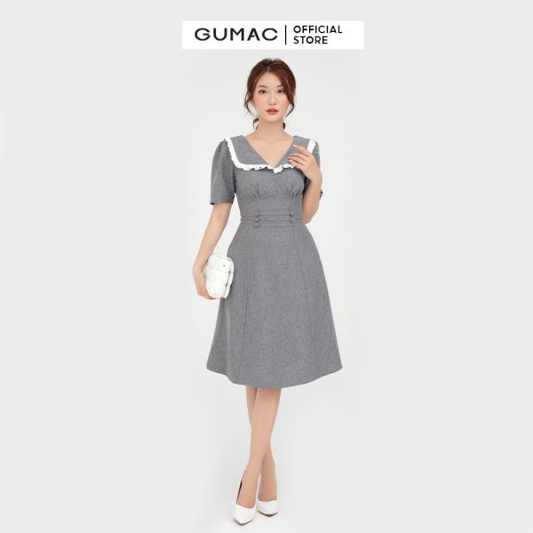Nơi bán Đầm nữ cổ V cúp ngực GUMAC mẫu mới DB573 Chất Liệu Vải Bố Cotton form A style công sở