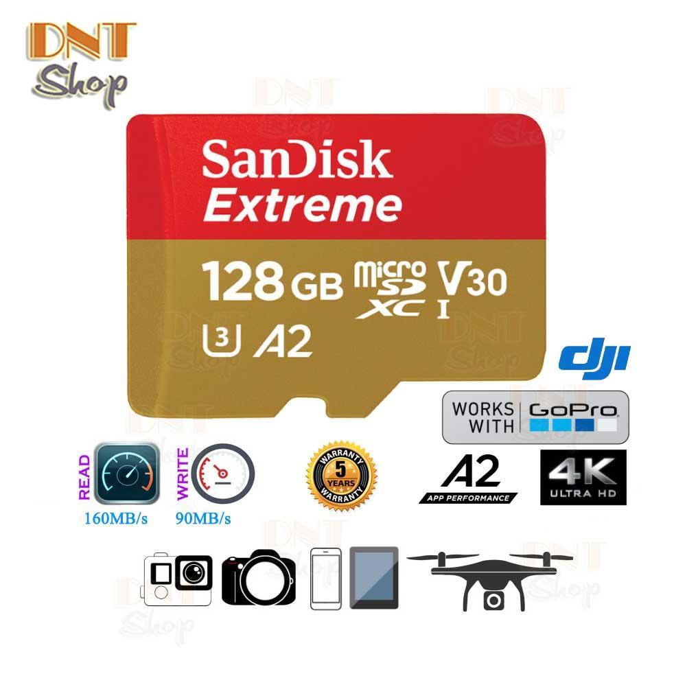 Voucher Ưu Đãi Thẻ Nhớ MicroSDXC SanDisk Extreme A2 - 128GB V30 U3 4K Class 10 UHS-I 160MB/s (SDSQXA1-128G-GN6MA)