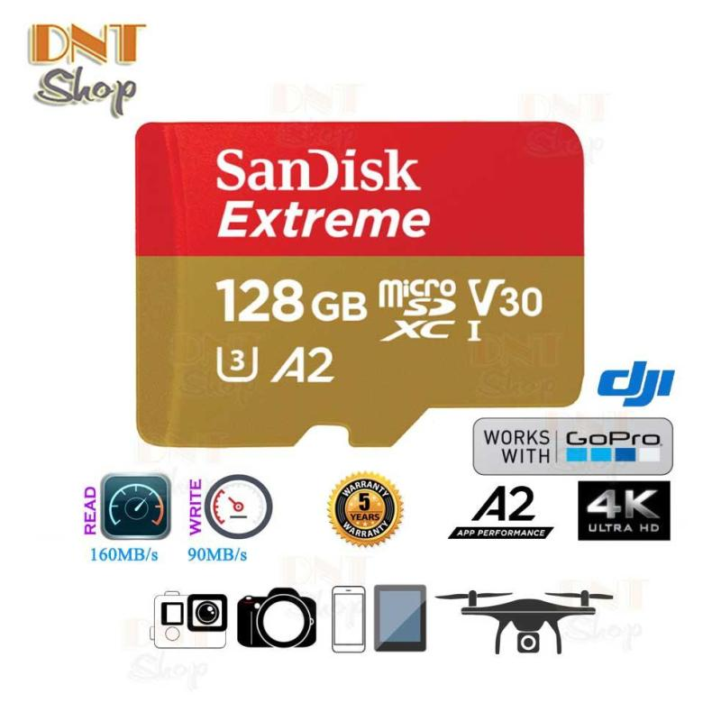 Thẻ nhớ MicroSDXC SanDisk Extreme A2 - 128GB V30 U3 4K Class 10 UHS-I 160MB/s (SDSQXA1-128G-GN6MA)