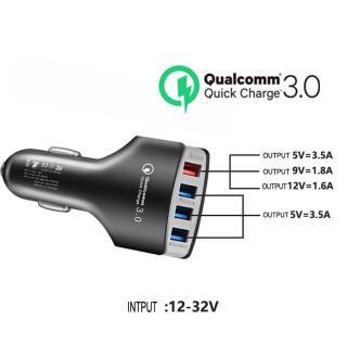 Tẩu Sạc Nhanh Thông Minh 4 cổng USB (3.5A 1USB - 7A Max) Cốc Sạc Nhanh Qualcomm Cao Cấp Chuẩn Quick Chagre 3.0 Cho Ô Tô Xe Hơi thumbnail
