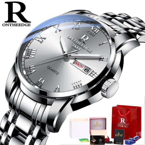 [Fullbox tặng pin + cắt dây] Đồng hồ nam Ontheedge RZY031 dây kim loại (Trắng Bạc) bán chạy
