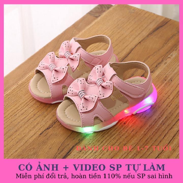 Giá bán Sandal cho bé gái 2 nơ xinh xắn có đèn led hàng cao cấp