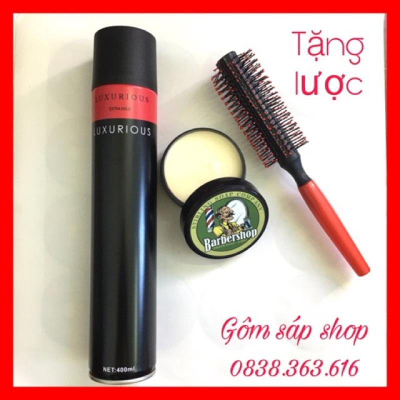 ComBo Gôm Xịt Tóc Nam Nữ Luxurious 420ml+Sáp Vuốt Tóc BarberShop/ sáp vuốt tóc/ wax vuốt tóc/ keo vuốt tóc/ sap vuot toc giá rẻ
