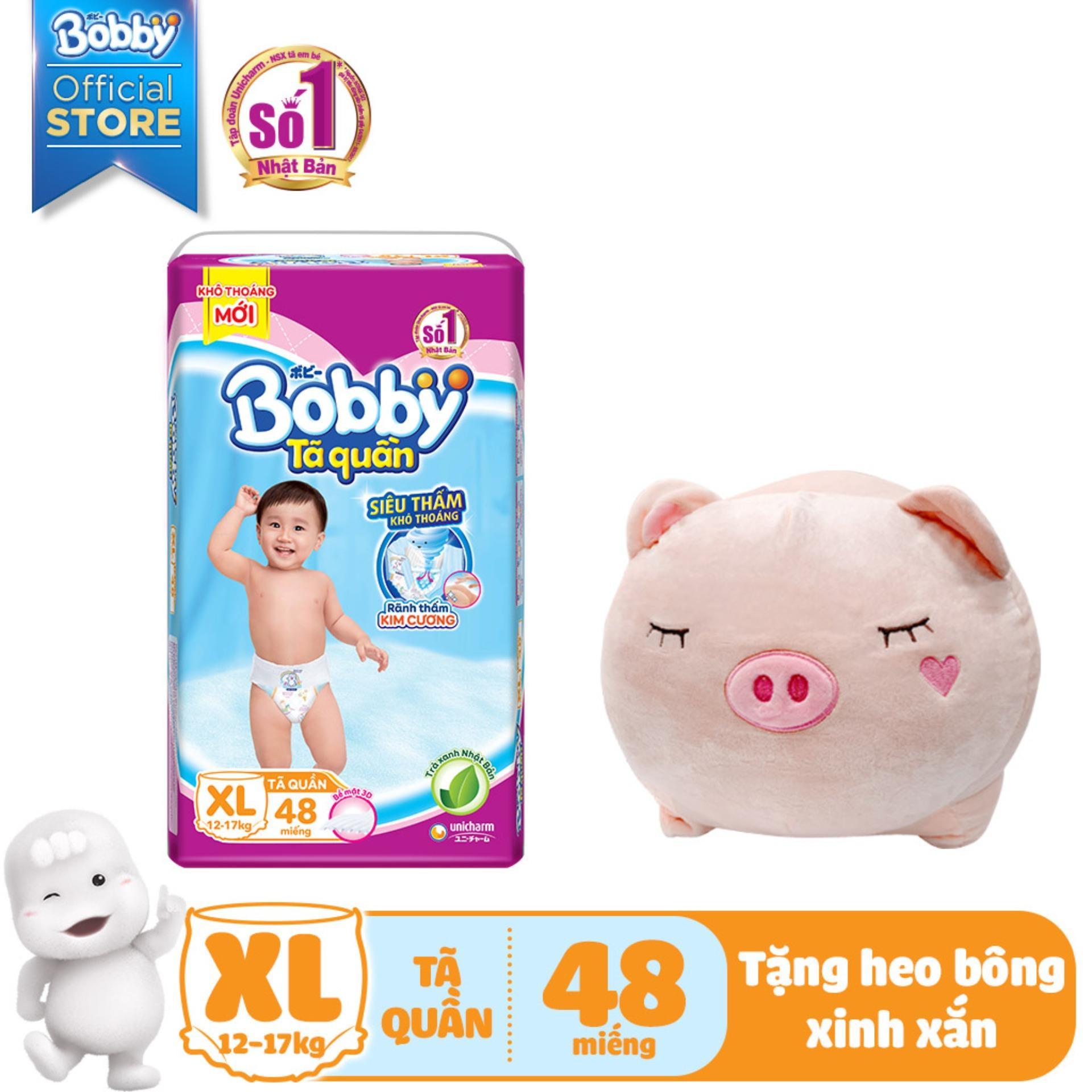 [Kèm quà] Tã/Bỉm quần Bobby gói siêu lớn XL-48 miếng...