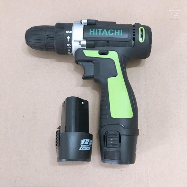 Máy khoan pin Hitachi 12V - Khoan 2 cấp tốc độ, kèm 2 pin