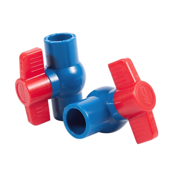 2pcs 20mm Full Port Non slip Handle Lever PVC Ball Valve Blue Red