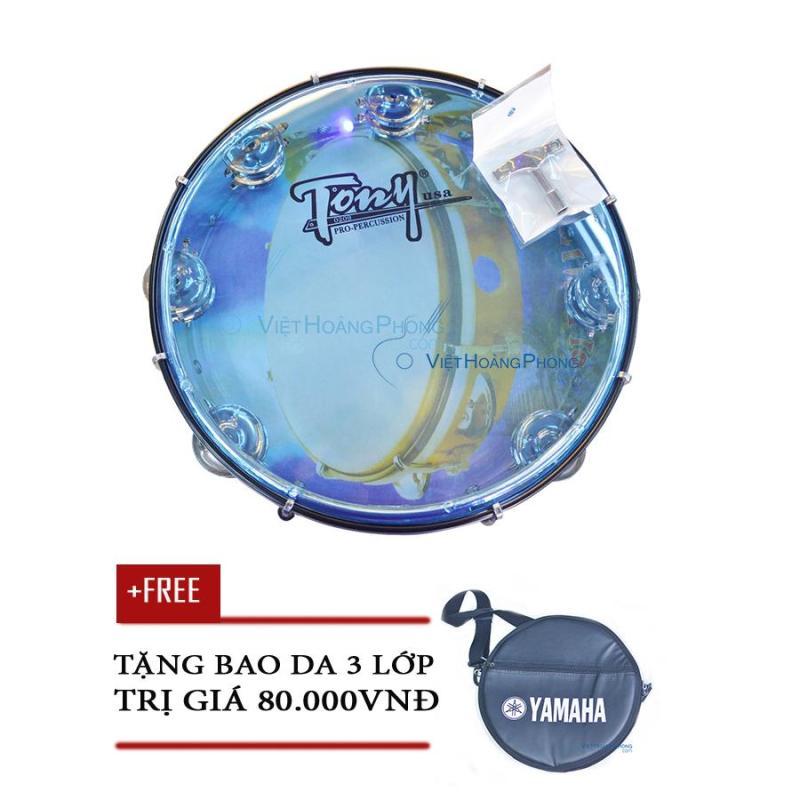 Trống lắc tay - trống gõ bo - Tambourine Cao Cấp TONY (USA) - Tặng bao da 3 lớp - HappyLive Shop