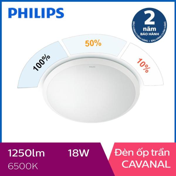 Đèn ốp trần Philips LED 3 cấp độ sáng Cavanal 31809 18W 6500K - Ánh sáng trắng, chất liệu sợi tổng hợp