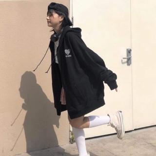 [FREESHIP TOÀN QUỐC] Áo khoác nỉ nữ thêu tim form rộng phối màu phong cách Hàn Quốc đi học đi chơi 4
