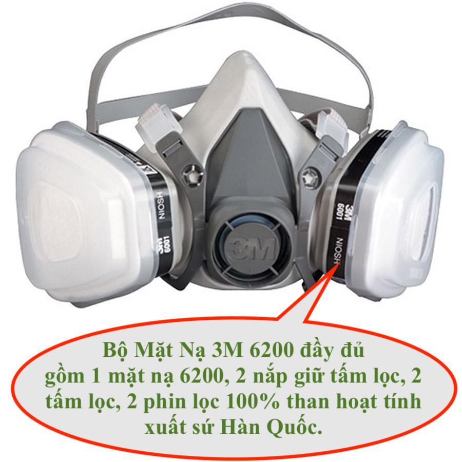 Bộ mặt nạ 3M 6200 phòng chống khí độc, khói độc đám cháy, lọc khử mùi thuốc trừ sâu phin lọc 3M 6001 Hàn Quốc Cao Cấp