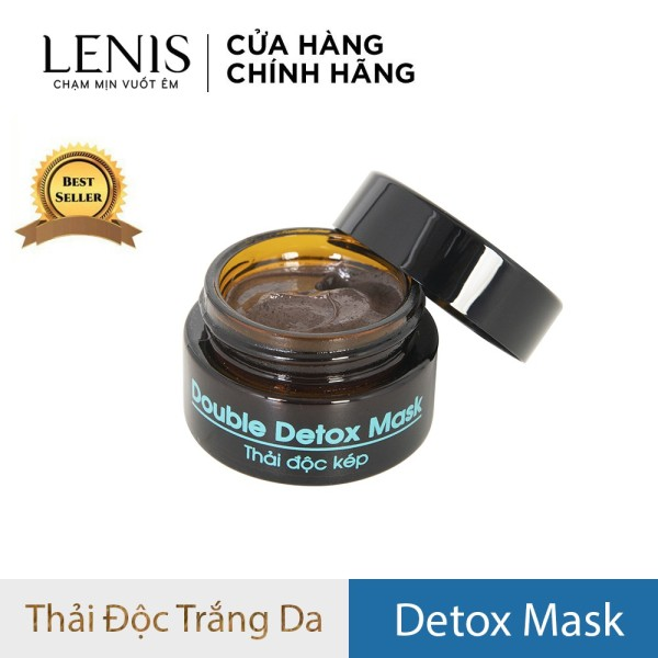 Mặt nạ thải độc than hoạt tính bùn khoáng Lenis Double Detox Mask 20ml - Làm dịu mụn đỏ, thải độc da, làm sạch sâu, trắng da, mờ nám.