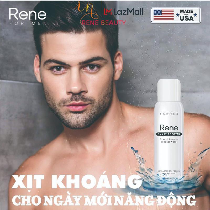 Xịt ẩm sáng da, chống lão hóa cho Nam [cấp nước; vi khoáng và dịu da; ngừa mụn] Rene Smart Booster Crystal Essence Mineral Water