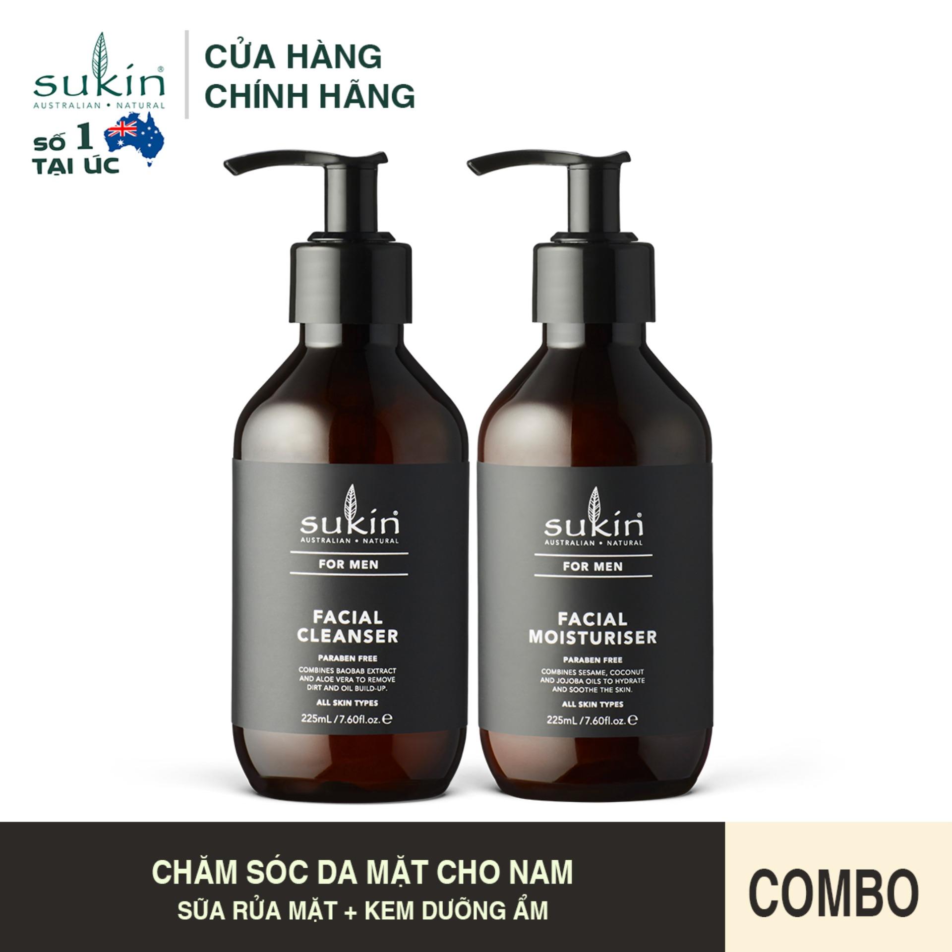 Combo Chăm Sóc Da Mặt Cho Nam Sukin For Men Sữa Rửa Mặt  225ml + Kem Dưỡng Ẩm  225ml cao cấp