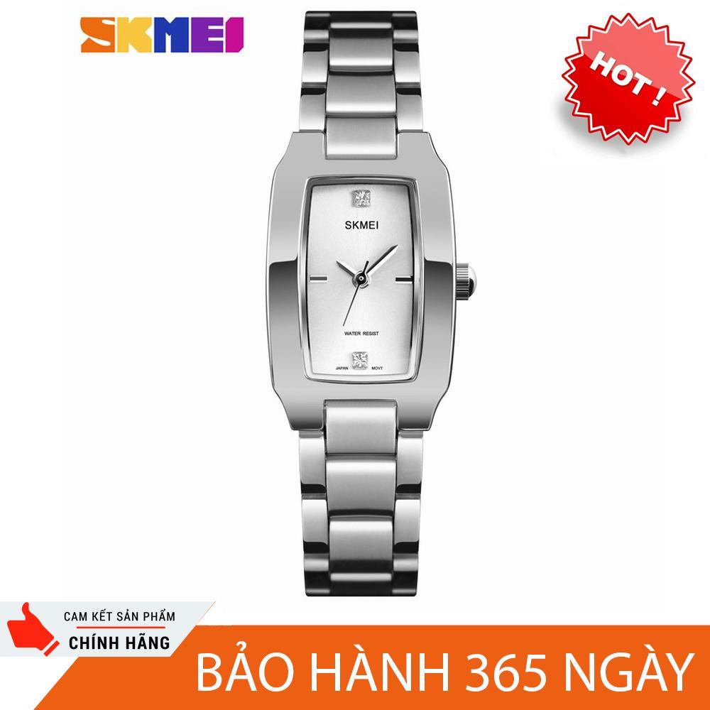 đồng hồ dây kim loại nữ skmei sk1240 dây thép không gỉ, mặt chữ nhật size mini cực xinh, chịu nước 30m ( màu bạc ) bán chạy