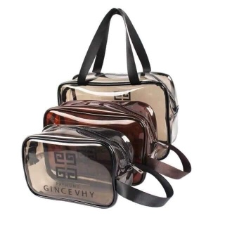 Set 3 túi Givenchy Travel đựng mỹ phẩm du lịch bằng nhựa PVC trong suốt cao cấp kèm 2 miếng bọt rửa mặt Hàn Quốc( có ảnh thật) thumbnail