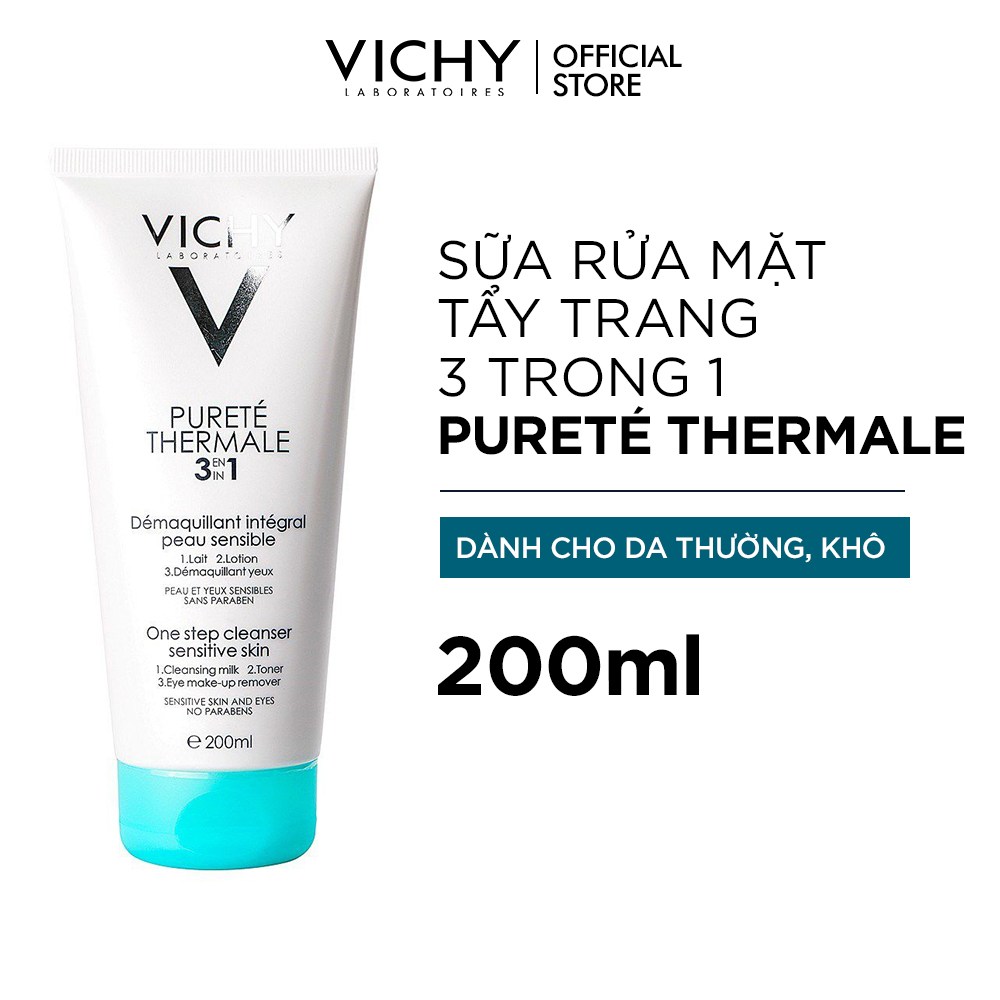 Sữa rửa mặt tẩy trang 3 tác dụng Vichy Purete Thermal One Step Cleanser 200ml