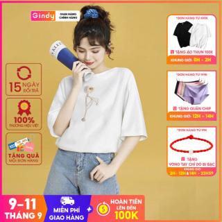 Áo thun Gindy áo phông nữ cotton unisex tay lỡ đẹp form rộng dáng suông phong cách Hàn Quốc A20029 thumbnail