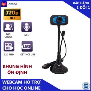 (Bảo hành 12 tháng) Webcam Chân Cao có mic dùng cho máy tính có tích hợp mic và đèn Led trợ sáng - Webcam máy tính để bàn chất lượng hình ảnh 1080 full HD. Hỗ trợ tốt cho công việc online thumbnail