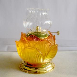 Đèn dầu hoa sen vàng thờ cúng bàn thờ