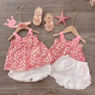 Bộ váy bé gái Hoa Hồng nhí VD011 đáng yêu, chất liệu đũi mát mẻ, phong cách dễ thương, màu hồng, full size từ 8-18kg