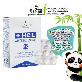 Viên uống giảm nám trắng da chuyên sâu Sakura HCL White Blossoms EX giúp đẹp da chống nắng làm mờ các vết thâm sạm tàn nhang nếp nhăn và hỗ trợ chống lão hóa hiệu quả. Hộp 120 viên thumbnail