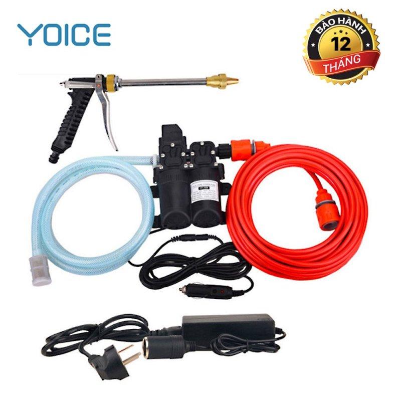 Máy rửa xe tăng áp mini bơm kép SHA02, máy bơm rửa xe tăng áp mini YOICE, 12V và đổi nguồn 220v -100W và đầu phun áp lực cao cấp, tiết kiệm chi phí