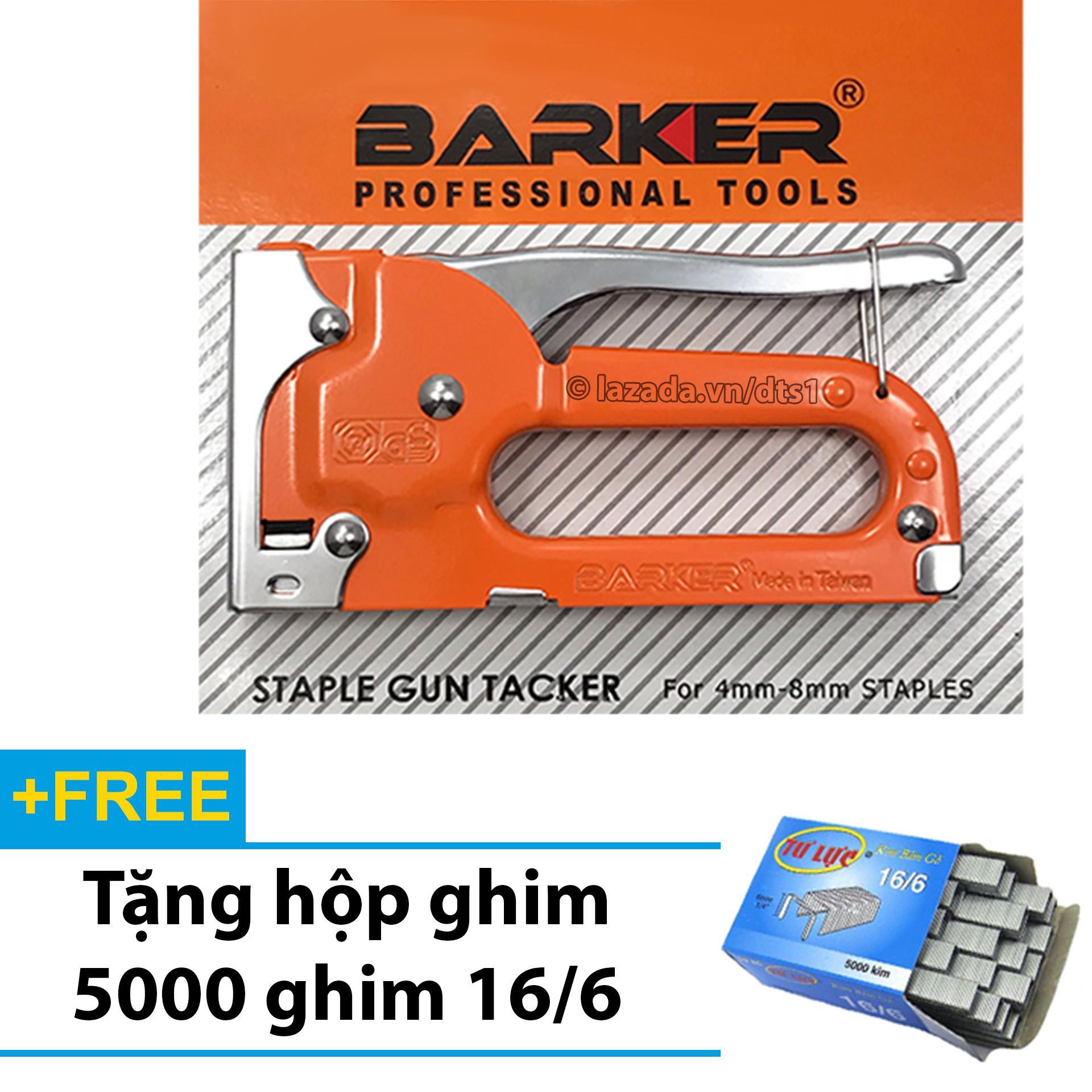 S.úng bắn ghim - Kìm bấm đinh gỗ BARKER cầm tay đa năng, tiện dụng - Tặng hộp 5000 ghim 16/6 (Cam)
