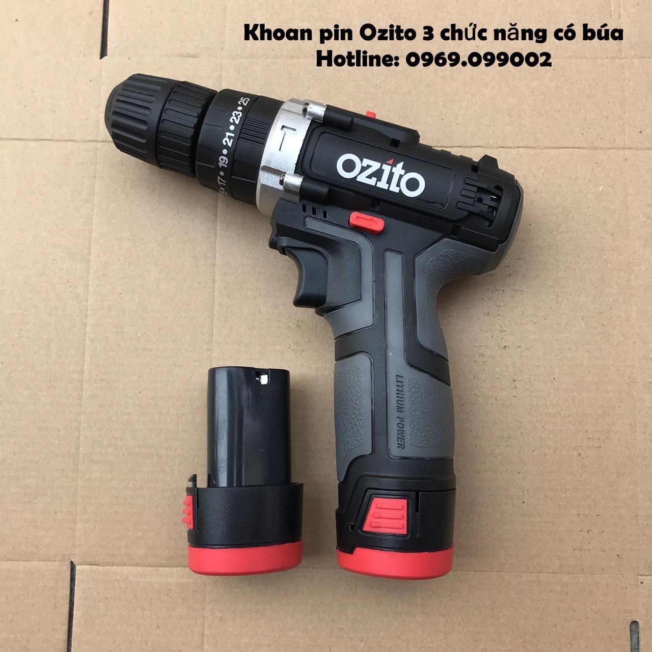 Máy khoan pin 12V Ozito 3 chức năng có búa