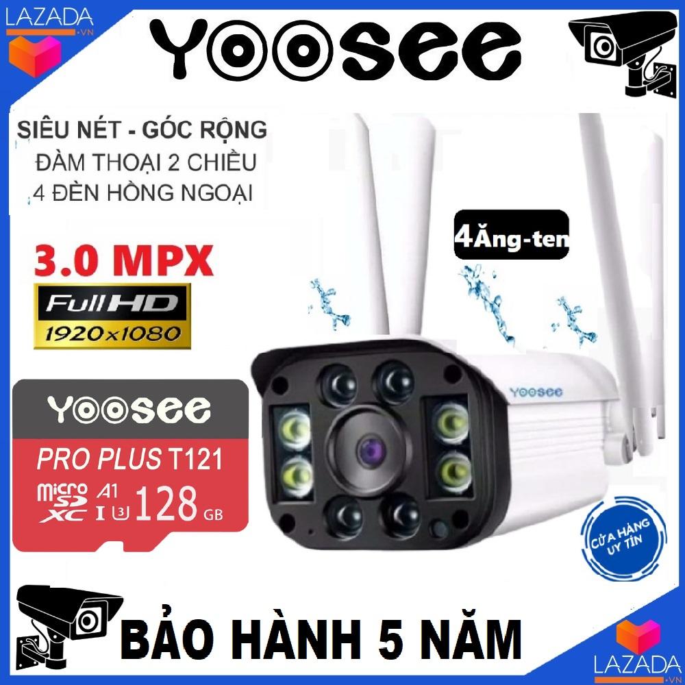 (KÈM THẺ SD YOOSEE 128GB giá 450k,CÓ MẦU BAN ĐÊM) camera YOOSEE wifi 3.0 ngoài trời - trong nhà,chống nước, camera yoosee 4 râu 3.0 Mpx FullHD 1920 x 1080P -4 đèn hồng ngoại và 4 đèn LED-NEW 2019(CÓ 2 MÃ CHO KHÁCH CHỌN LỰA:CÓ THẺ VÀ CHƯA KÈM THẺ)