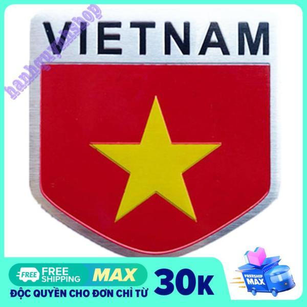 Tem Nhôm Cờ Việt Nam Hình Khiên 5x5cm Dán Trang Trí Ô Tô Xe Máy
