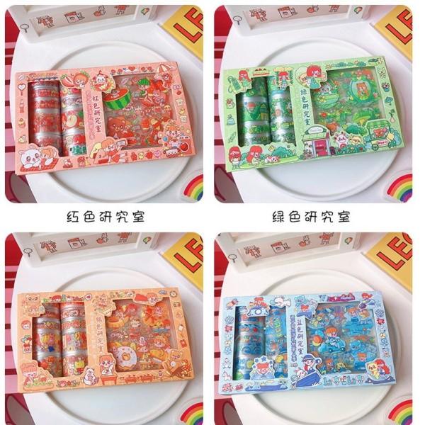 Set Sticker Washi Tape PVC Hoạ Tiết Dễ Thương
