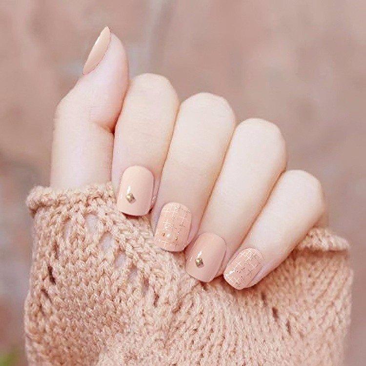 Bộ 24 móng tay nail và keo Nail cô dâu màu vàng nhạt s58 . cao cấp