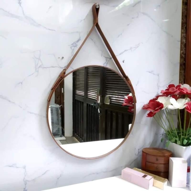 Gương Tròn Treo Tường Dây Da D50 - Đường kính 50cm