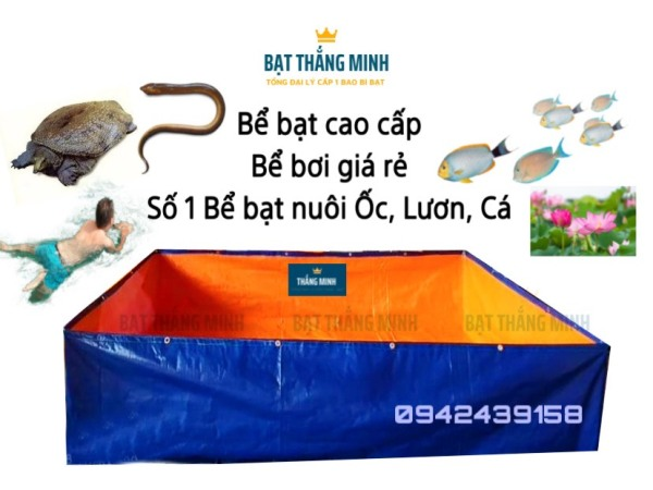 Bể bạt nuôi thủy sản dài 2m dày Bạt Hàn Quốc loại 1 - bể bạt nuôi cá, ếch, lươn, ốc, baba - Bể Bạt Thắng Minh