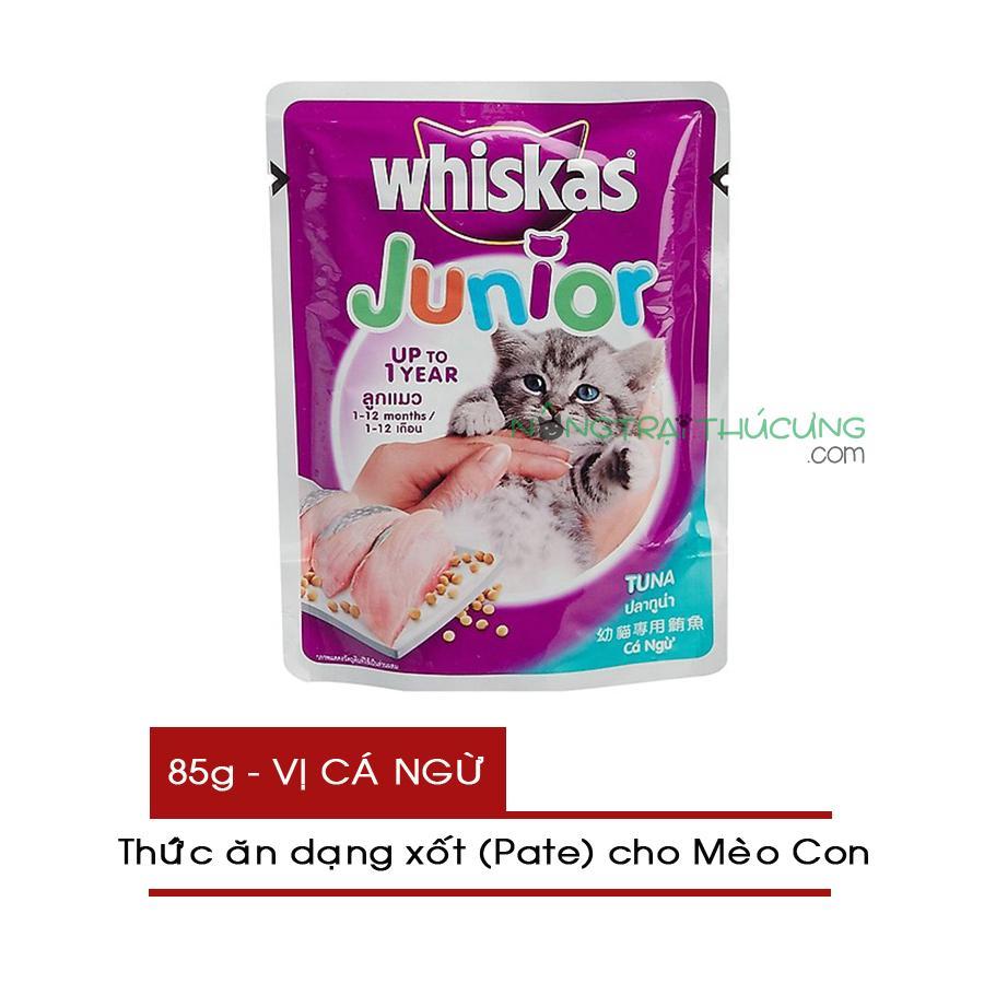 Giá Tiết Kiệm Để Sở Hữu Ngay Thức ăn Pate/ Xốt Cho Mèo Con Whiskas Junior Gói 85g - Vị Cá Ngừ - [Nông Trại Thú Cưng]