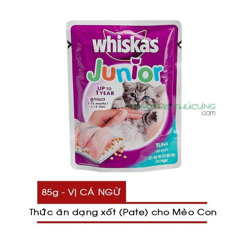 Thức ăn Pate/ Xốt cho Mèo Con Whiskas Junior gói 85g - Vị Cá Ngừ - [Nông Trại Thú Cưng]