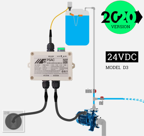 [AN TOÀN] BĐK Phao điện 24V cho bồn nước - PSAC