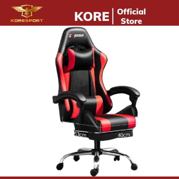 Ghế ngồi chơi game bọc da cao cấp dành cho game thủ, ghế gaming hỗ trợ để chân, ghế xoay ngồi làm việc giá rẻ
