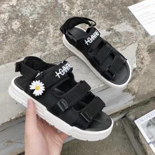 Sandal quai hậu nữ, dép quai hậu học sinh thêu hoa cúc 3 quai dán, sandal đi hoc, sandal đế bánh mỳ siêu hot thumbnail