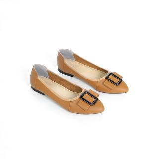 Giày Búp Bê Da Bò Đế Mềm Khóa Vuông Màu Kem Pixie P243