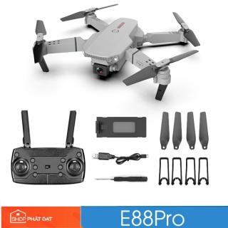 Máy Bay Điều Khiển E88 Pro 4K 2 camera Wifi, flycam mini giá rẻ, drone e88, Máy bay camera 4k flycam mini giá rẻ điều khiển từ xa quay phim, chụp ảnh, chống rung quang học kết nối wifi có tay cầm điều khiển. thumbnail