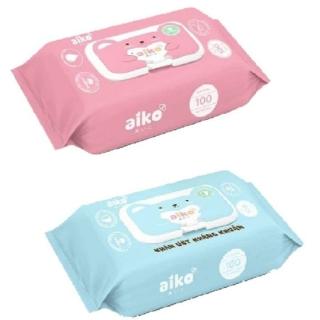 Combo 2 gói Khăn giấy ướt Kháng khuẩn Aiko 100 tờ không mùi ( chọn màu ngẫu nhiên) thumbnail