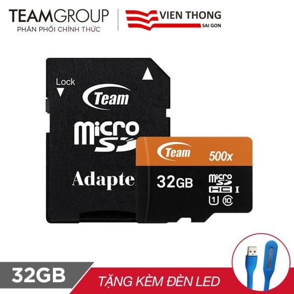 THẺ NHỚ MICROSDHC TEAM 32GB 500X UPTO 80MB-S CLASS 10 U1 KÈM ADAPTER +ĐÈN LED USB