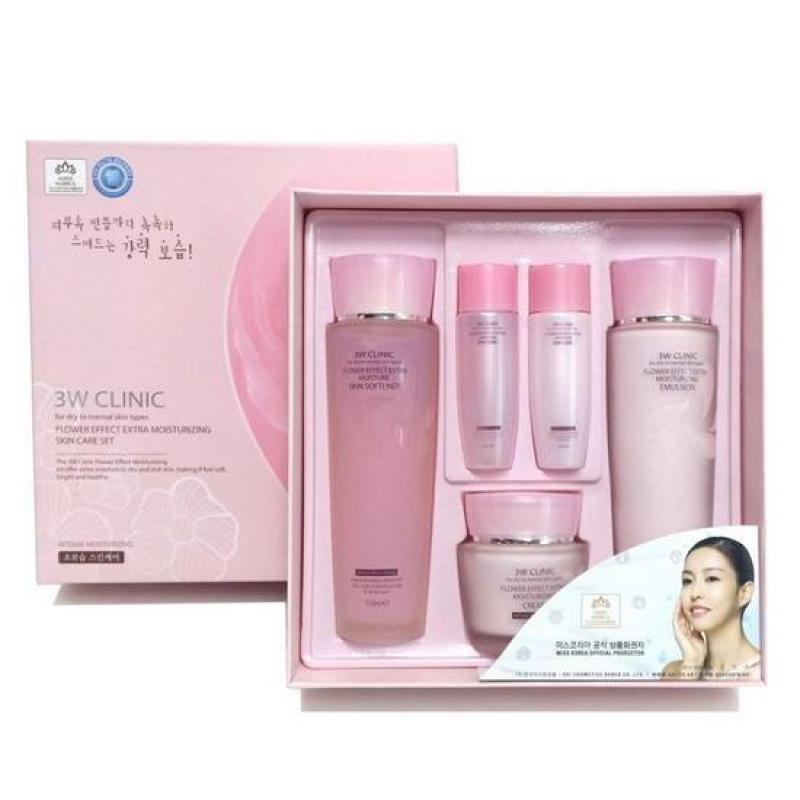 Bộ Dưỡng Da Chiết Xuất Từ Hoa Hồng 3W ClinicFlower Effect Extra Moisturizing Skin CareSet