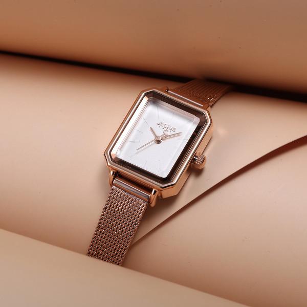 Đồng hồ nữ Hàn Quốc JULIUS JA-1223 dây thép mặt chữ nhật