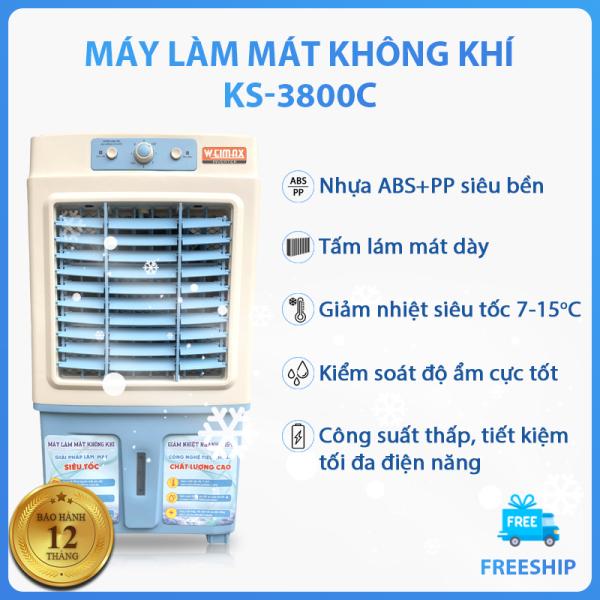 Quạt điều hòa KS-3800C giảm nhiệt siêu tốc 7-15 độ C, công suất 130W, tiết kiệm điện năng, tặng kèm 2 hộp đá khô giúp làm mát hiệu quả hơn, thùng chứa nước lớn 35L, máy làm mát không khí kiểm soát độ ẩm tốt