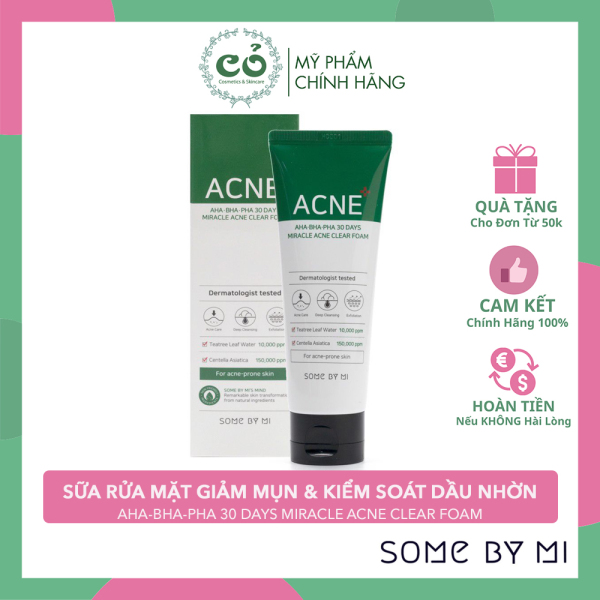[HCM]Sữa Rửa Mặt Some By Mi AHA-BHA-PHA 30 Days Miracel Acne Clear Foam